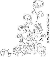 Abstract flower background, contour - Abstract vector...
