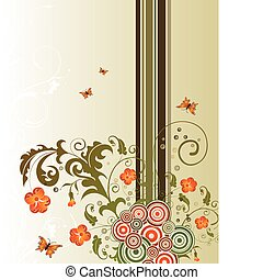 Abstract flower background with circles & butterflies,...