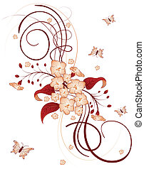 Abstract flower background with butterfly, element for...