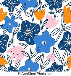 Abstract flower garden, vector seamless pattern