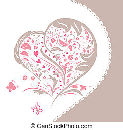 Abstract flower heart shape invitation card - Abstract pink...