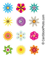 Abstract flower icons - vector illustration