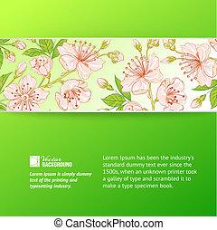 Abstract flower label. - Abstract flower label over green...