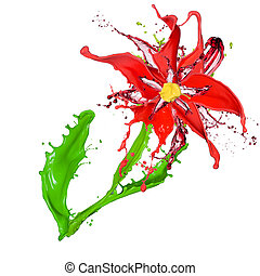 Abstract flower made of Colored splashes, isolated on white background
