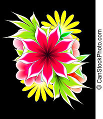 abstract flower  on a black background