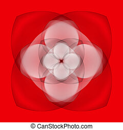 Abstract flower on red background