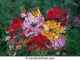 Abstract Flower Painting - Oil and Pallet knife abstract...