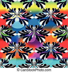 abstract flower petals on a beautiful psychedelic background seamless pattern