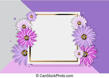 Abstract Flower Realistic Vector Frame Background