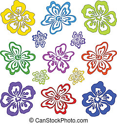 Abstract flowers, symbol pictograms different colors, set. Vector