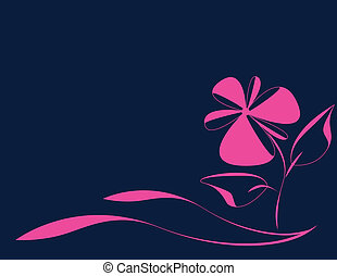 abstract flower - blue background with scarlet with abstract...
