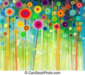 Абстрактная цветочная акварельная живопись. Ручная роспись желтых и красных цветов в мягких тонах на зеленом фоне. Абстрактные цветочные картины на лугах. Spring flower seasonal nature background