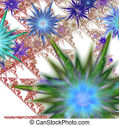 Abstract flowers - Abstract background with digitally...