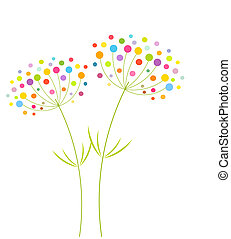 Abstract colorful flowers - vector illustration