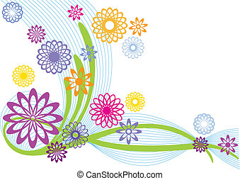 abstract flowers - abstract floral design, vector background
