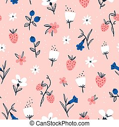 Abstract flowers and berries on pink seamless pattern