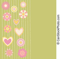 abstract flowers and hearts background. vector