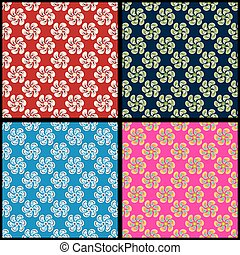 Abstract flowers background collection of retro style vector illustration