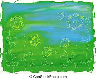 abstract flowers background painting