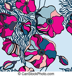 Abstract Flowers background. Seamless pattern