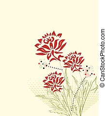Abstract flowers background with text
