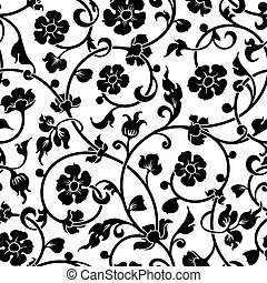 abstract flowers baroque seamless pattern