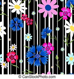 abstract flowers Cornflowers stripes-01
