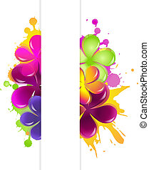 Abstract Flowers, Isolated On White Background, Vector Illustration