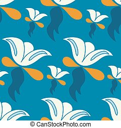 abstract flowers on a blue background vector illustration