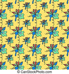 abstract flowers on a yellow background geometric seamless pattern