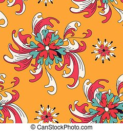 abstract flowers on an orange background seamless pattern