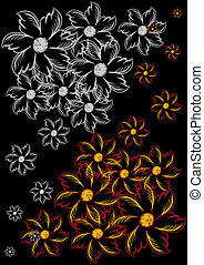 Abstract flowers on black background