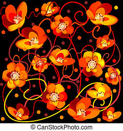 Abstract flowers on black background with ribbons