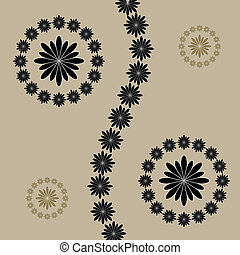 Abstract flowers on brown background.