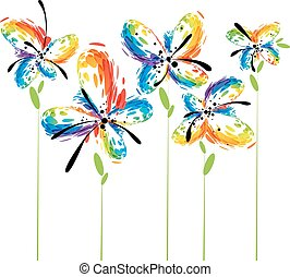 Abstract flowers on white