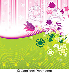 Abstract Flowers Pattern, editable vector illustration