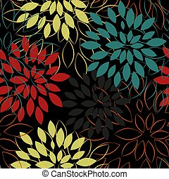 Abstract flowers seamless pattern vector illustration.