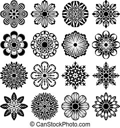 abstract flowers set