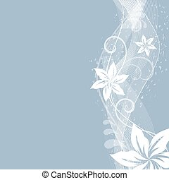 Abstract flowers side ornament vector background