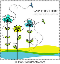 Abstract flowers with dragonfly