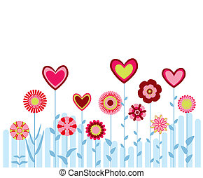 abstract flowers with hearts