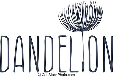 Abstract fluffy dandelion flower logo. Vector illustration
