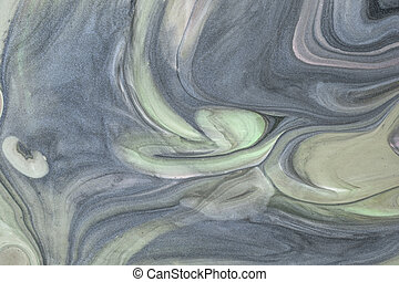 Abstract fluid art background gray and green color. Liquid marble. Acrylic paint