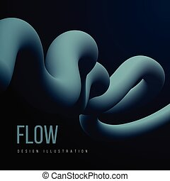 Abstract fluid line. Gradient flow design. Vector