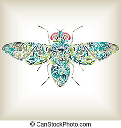 Illustration of abstract fly filled with scroll.