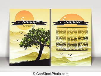 Abstract Flyer Brochure Design Template of Sumer Season with...