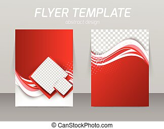 Abstract flyer template design with waves and squares in red...