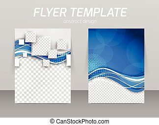 Abstract flyer template design with wave in blue color and...