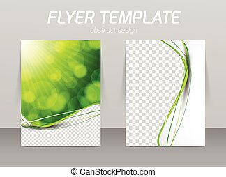 Abstract flyer template design in green color