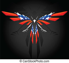 Abstract flying American flag - Abstract flying Bald Eagle...